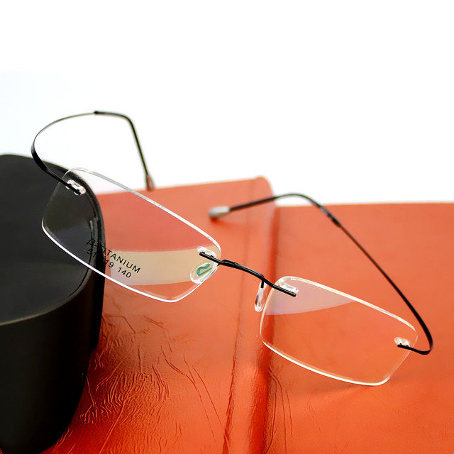 2016 Brand Optics Glasses Titanium Rimless Ultra Light Glasses Frame Eyeglasses Men women With Original Case Oculos de grau