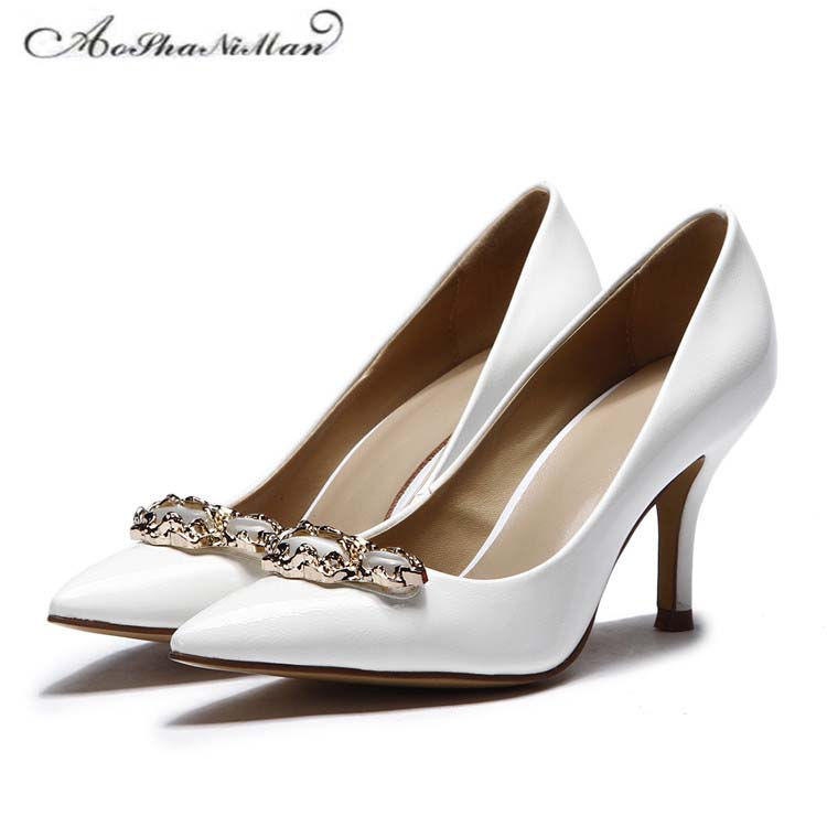 2018 Spring newest design Real Leather heels Elegant Pointed Toe thin heel pumps Genuine leather dress shoes For Women 2017 newest spring shallow heels pointed toe thin heel women pumps dress stiletto shoes women real leather supper high heels