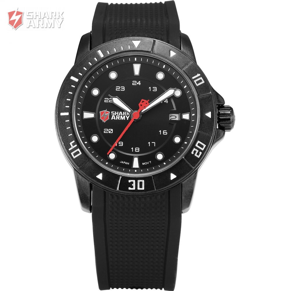 Military Sport SHARK ARMY Men's Luxury Analog Quartz Date Display Silicone Band Watches for Men Black Electroplate Case/ SAW097 hot sales yzf600 r6 08 14 set for yamaha r6 fairing kit 2008 2014 red and white bodywork fairings injection molding