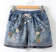 floral embroidery pants 2017 Pocket elastic waist Denim shorts mori  girl