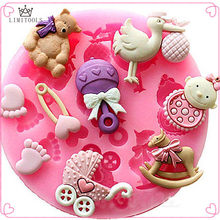 LIMITOOLS Baby Shower Party 3D Silicone Fondant Mold For Cake Decorating Cake sugar craft Chocolate Moulds Tools DIY(China)