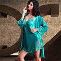 XIFENNI Brand Satin Silk Bathrobes Sexy Elegant Two-Piece Robe Sets Embroidery Lace Sleepwear Faux Silk Nightgowns Female 8204