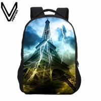 2018 VEEVANV Eiffel Tower Printing Backpack Boys Casual Shoulder Bag Fashion Designer Children Backpack School Bag Teenager