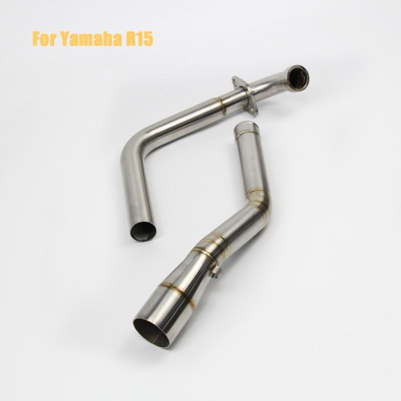 Stainles exhaust muffler for Yamaha YZF R15 Motorcycle Exhaust middle pipe for YAMAHA YZF-R15 2008-2016 with motorcycle muffler