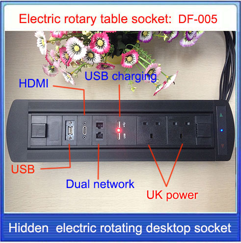 EU/UK Plug  Electric rotation Desktop socket /hidden/ multimedia HDMI RJ4 USB charging socket/Can choose function module/ DF-005