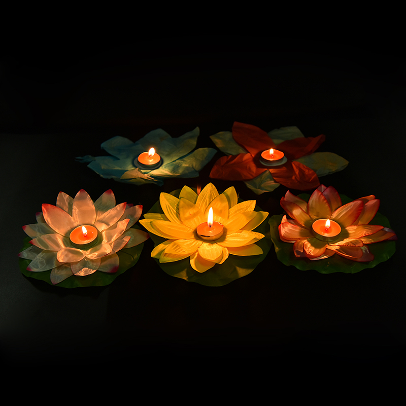 HENGHOME 1PC Floating Lotus Lanterns Water Lamp Wedding Party Decorations Paper Flower Light Drifting Blessing