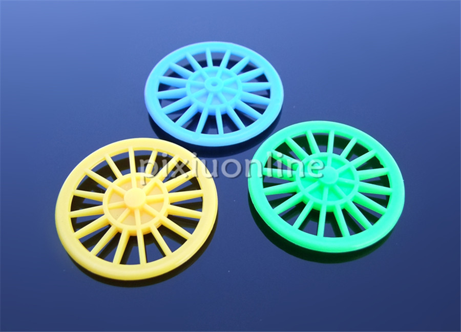 10 Stks/zak K1007 Groen/blauw/geel Out Diameter 37mm Plastic Speelgoed Auto Wiel Gratis Verzending Rusland