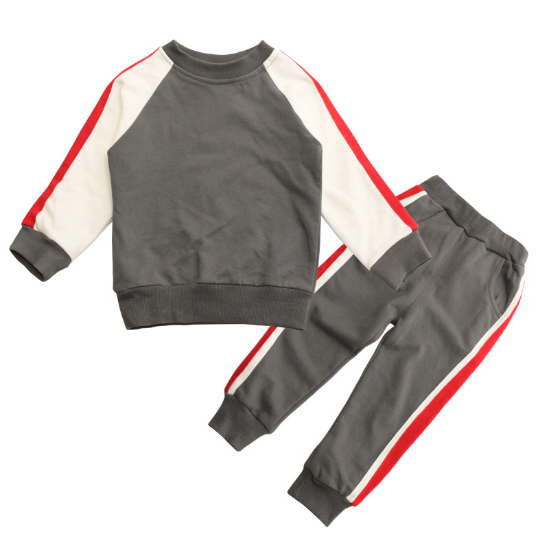 Childrens Set Boy Sports Trousers Suit Cotton Leisure Two Sets New Children Slim Fashion New Style Gray Color Stitching