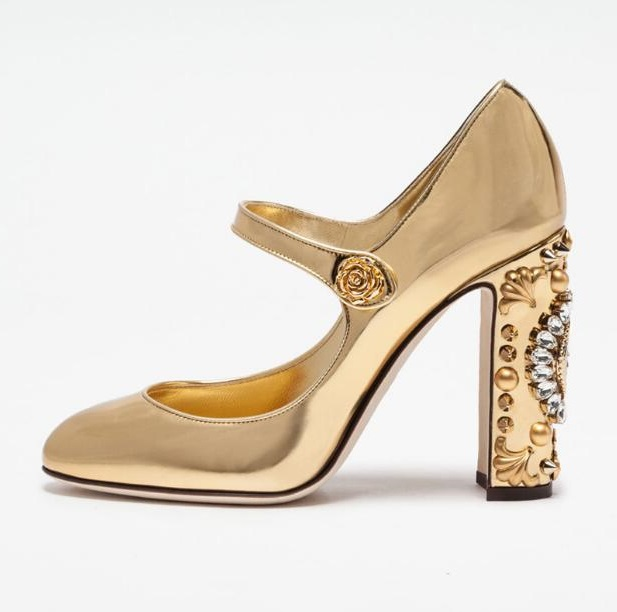 Vintage Watch Clock Crystal Heel Women Pump Chunky High Heels Mary Jeans Shoes Chuassure marriage High Heel Dress Shoes