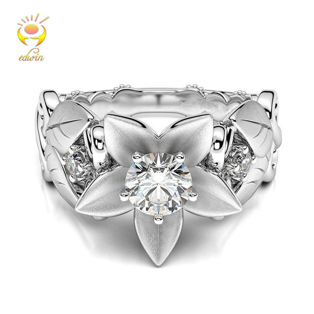 Edwin Fashion Women Rings Rose Personality High Quality Gift Silver Rings Floral