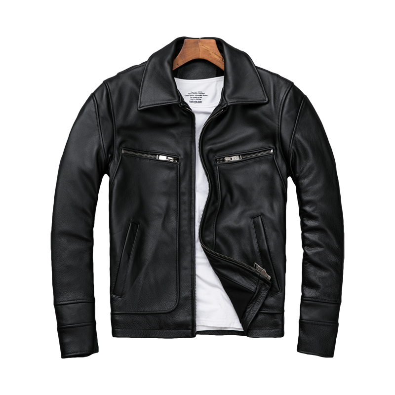 2020 Black Men Casual Leather Jacket Plus Size XXXXXL Genuine Thick Cowhide Spring Russian Natural Leather Coat FREE SHIPPING