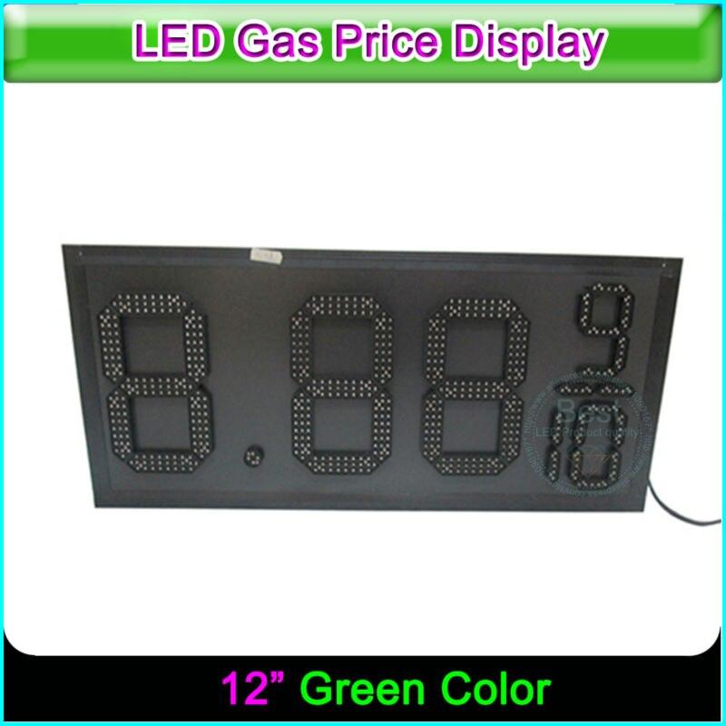 12 Открытый АЗС зеленый цвет led цена цифровой подписи с световой короб