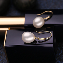 FENASY 18k gold earrings pearl jewelry, Antiallergic 18K Real Gold drop earrings For Women 2017 New Fashion long earrings