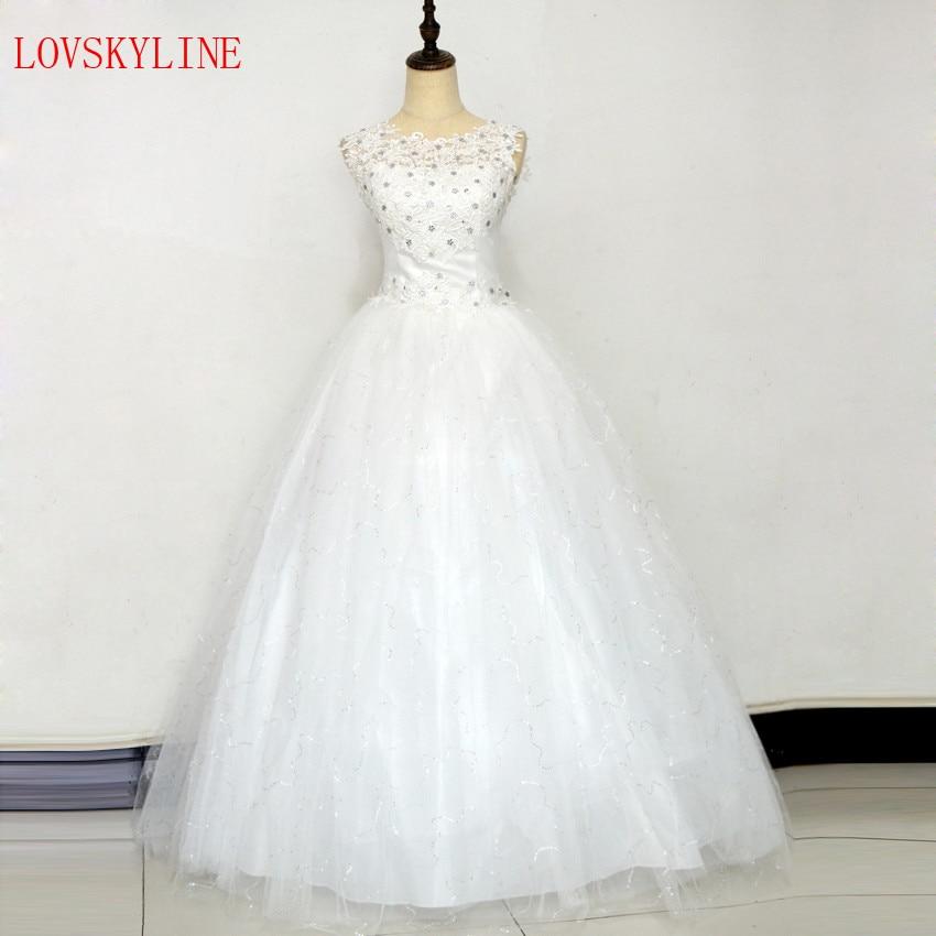 New bride wedding dress formal dress 2018 plus size wedding dress floor-lengthh double-shoulder puffy skirt summer O-neck