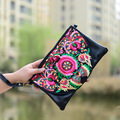 2016 National Style Handmade Embroidery Flower Day Cluthes Bag Pu Leather Women Messenger Bag  Zipper Crossbody Bag For Women