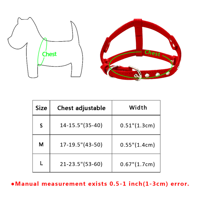 Soft Suede Leather Dog Harness with Rhinestones