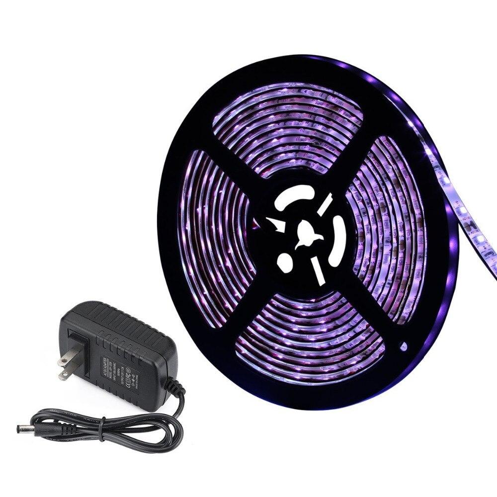 Us 15 94 45 Off 5m Uv Black Light Led Strip Blacklight Lights Kit With Dc12v Ip65 Waterproof 16 4ft 300 Unit 12v 2a Adapter In