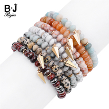 Natural Semi Precious Stone Gold Arrow Charm Bracelets For Women Genuine Flat Rondelle Jaspers Amazonite Beads Bracelet BC319 цена