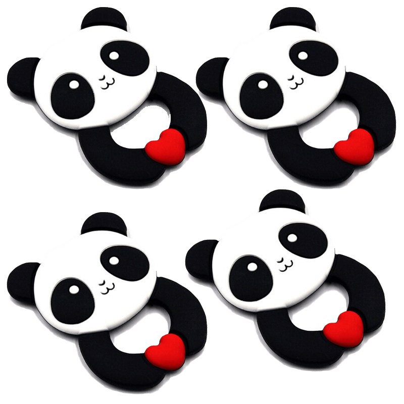 Baby Teether Ring Panda Animal Shape Silicone Teethers Teething Pendant Necklace DIY Baby Chew Toy Infant Gift BPA Free