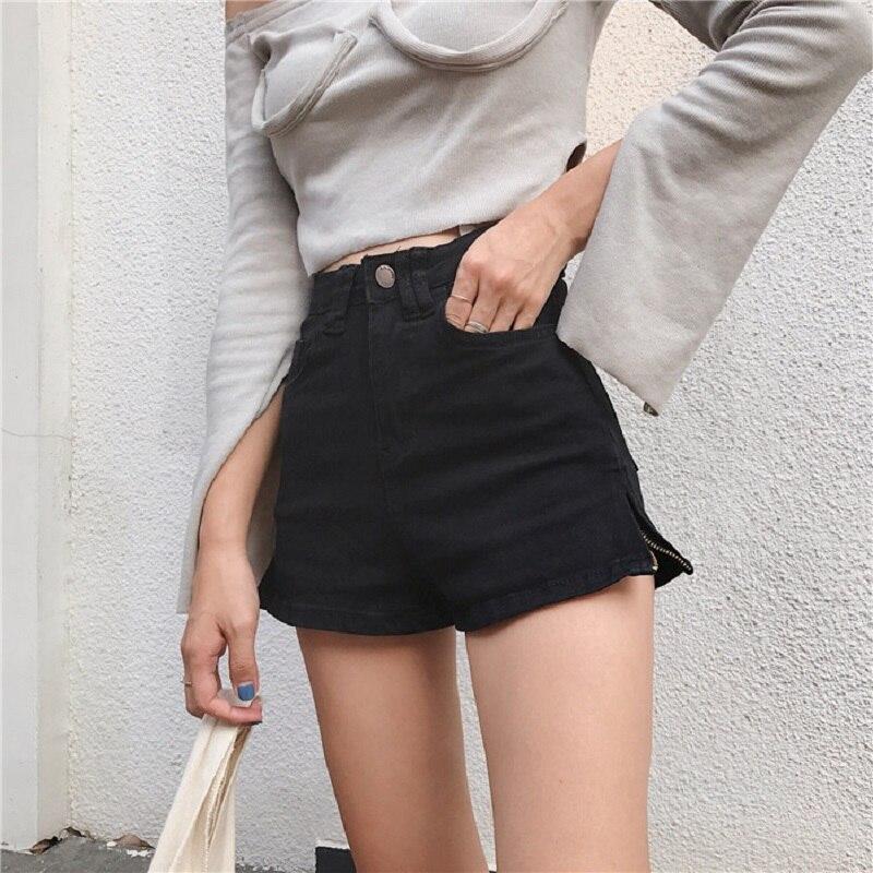 Chic Fashion Punk Shorts Summer Streetwear Hipster Shorts Women High Waist Slim Stretch Casual Side Zipper Shorts