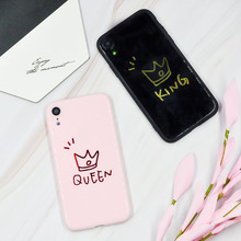 Hot Selling Pink Black Matte Phone Case For iPhone X  XS MAX XR Personality Sale Love Crown Couple Cover 6 6s 7 8 plus