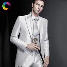 Shinny Silver Men Wedding Suits Custom Made Man Blazers Jacket 3Piece Pants Vest Slim Fit Groom Tuxedo Business Ternos