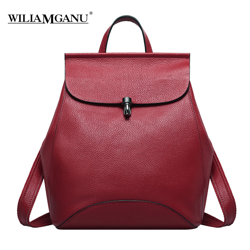 WILIAMGANU Genuine Leather Backpack Women Bags For Teenagers Girls/Female Travel Bag ipad Mini Laptop Backpack Mochila 0774