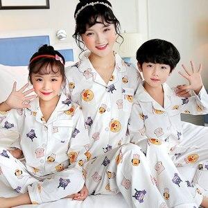 Image 5 - Boys Pajamas set Spring Cotton Family Matching Outfits Mommy and Daughter Pijamas Suit Casual Baby Girls Sleepwear kids pyjamas