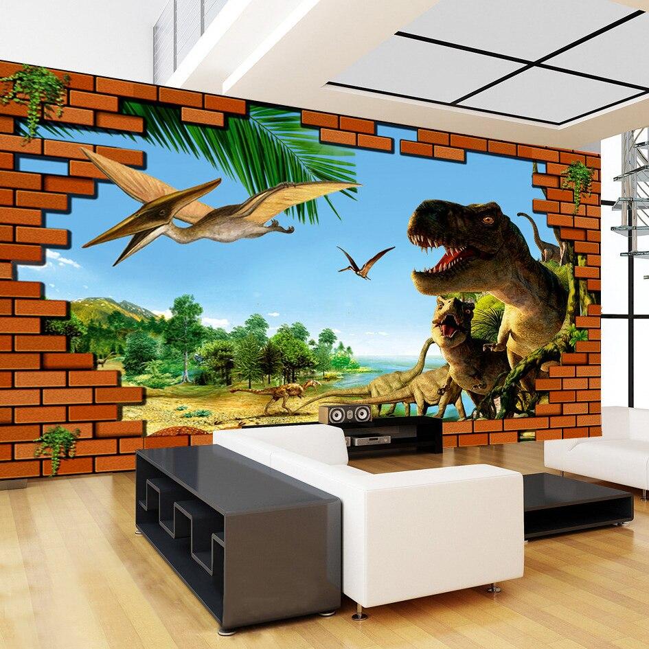 US $7.99 57% OFF|Custom Foto Tapete 3D Stereoskopischen HD Ziegel Wand  Dinosaurier Große Wandbilder Wohnzimmer Sofa TV Hintergrund Home Decor ...