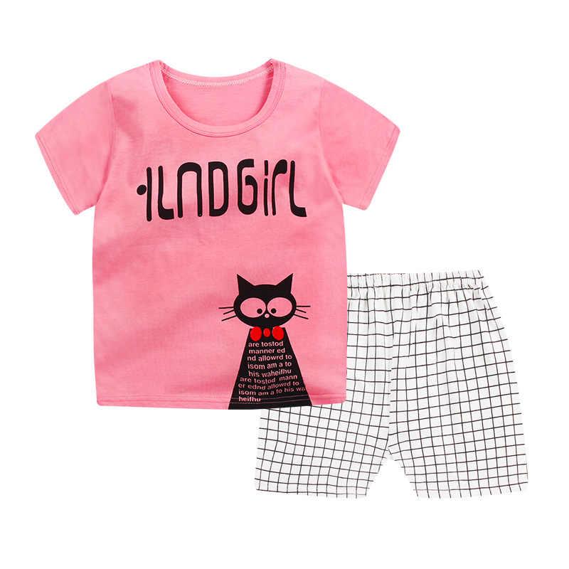 2019 nuevo bebé niño ropa Calidad Algodón niños mono verano manga corta niños ropa conjuntos dibujos animados niña ropa traje de cuerpo
