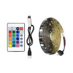 5 V Porta USB Power LED RGB Tira Flexível do DIODO EMISSOR de luz 5050 À Prova D' Água corda Fita para TV de Fundo do Desktop Decoração 1 M 2 M 3 M 4 M 5 M