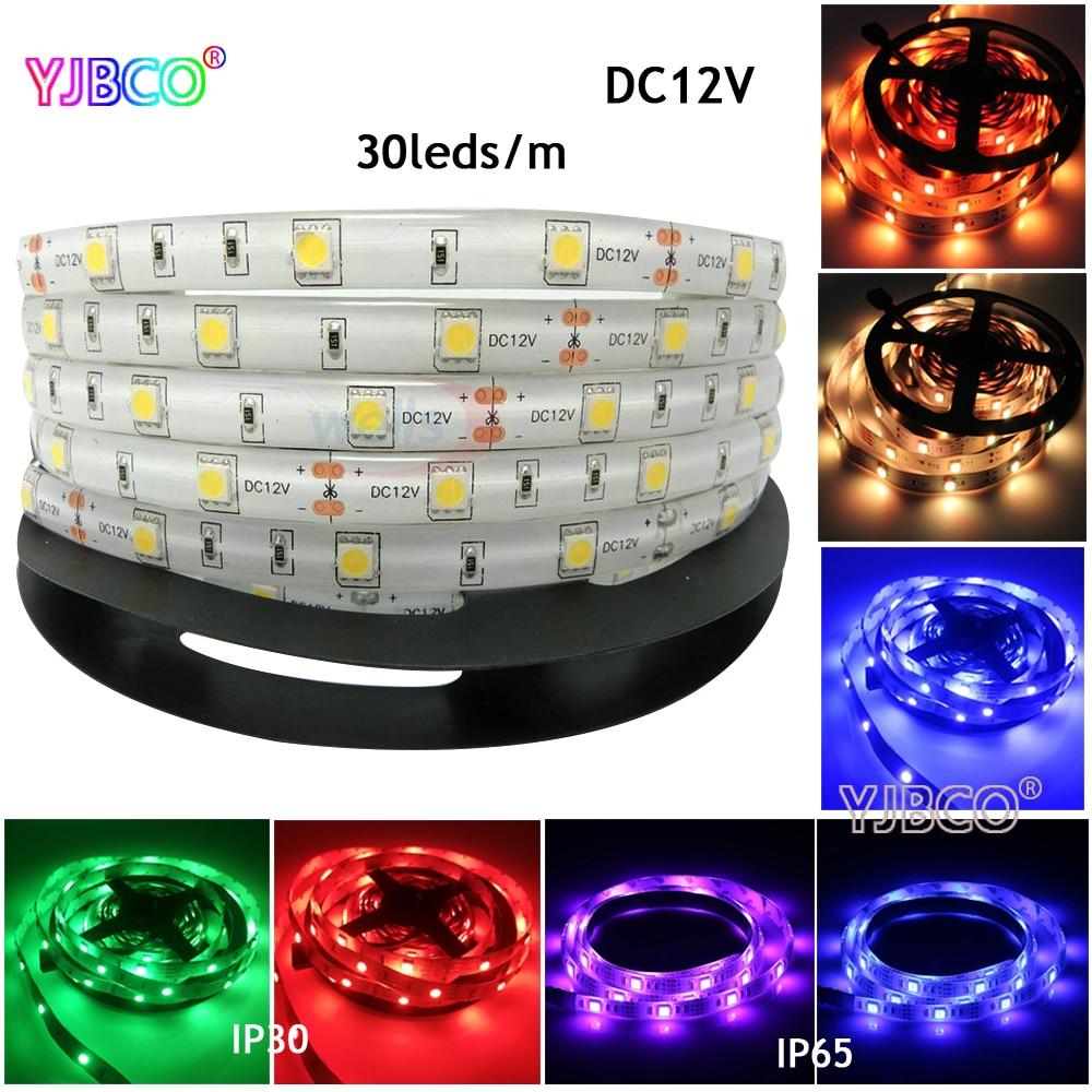 5m DC12V 30leds/m 5050 SMD Warm White/White/Red/Blue/Green/RGB LED Strip Light For Ceiling Counter Cabinet Light IP30/IP65