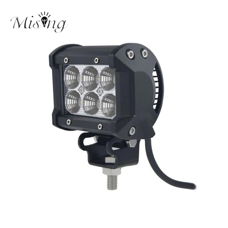 Mising 18W LED 4 Inch IP67 Waterproof Floodlight 6PCS High Intensity LEDs 10-30V Stainless Steel Outdoor Spotlight for Camping