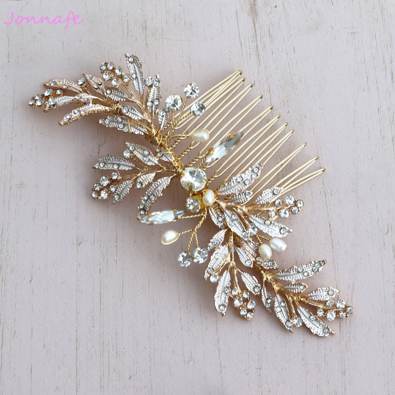Jonnafe Handmade Gold Leaf Pettine Dei Capelli Boho Parrucchino Nozze Perle Accessori Per Capelli Pettini Donne Copricapo Gioielli