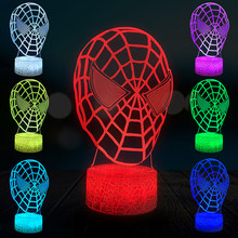 Marvel Spiderman Night Light Máscara Facial Festa de Aniversário Casa Decorativo Candeeiro de Mesa USB LED 3D Multicolor Presente do Menino Quarto DC motor de Brinquedo(China)