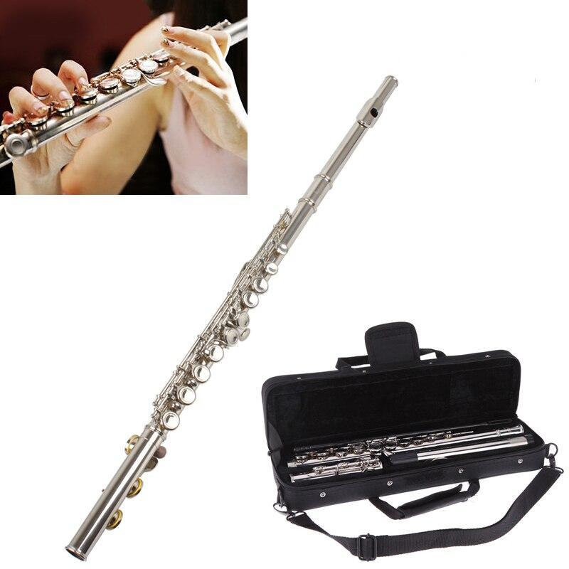 купить Concert Flute Silver Plated 16 Holes C Key Cupronickel Musical Instrument with Cleaning Cloth Stick Gloves Screwdriver по цене 5659.43 рублей