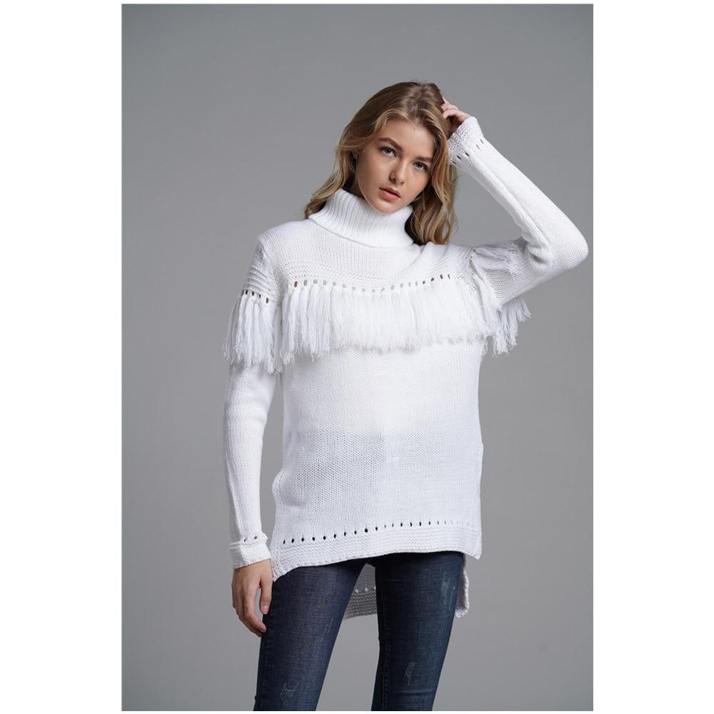 3ef281b1308 US $25.7  Aliexpress.com : Buy 2019 Winter New Arrivals sweater women Loose  Long Knit slit tassel turtleneck Pullover knitwear Fashion thicken ...