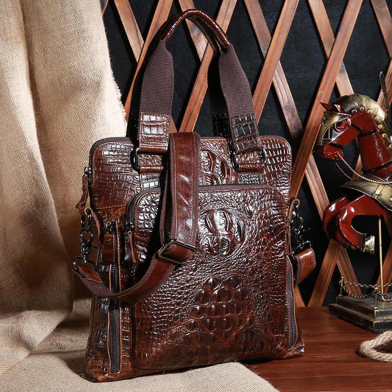 JOYIR Moda hakiki deri erkek Evrak Çantası çanta inek derisi deri timsah şekilli crossbody çanta iş çanta askılı çanta