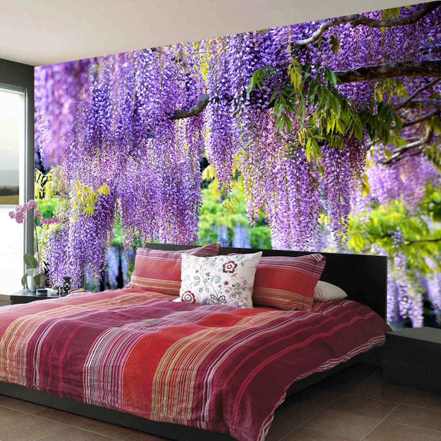 Custom Poster Printing 3D Romantic Purple Flower Vine Wall Painting Living Room Bedroom Photo Background Mural Wallpaper Decor
