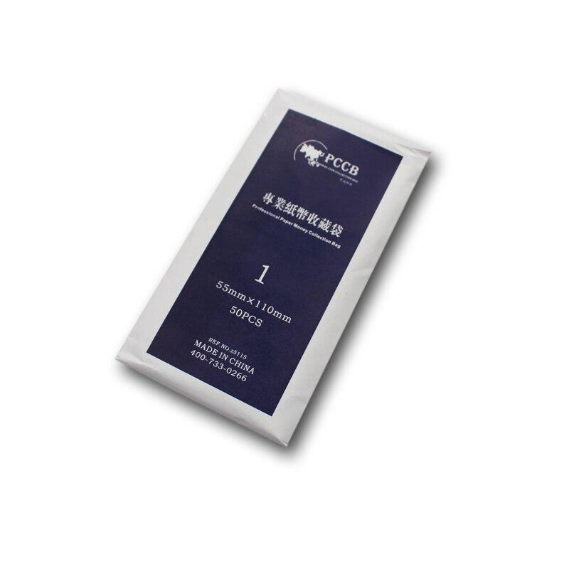 PCCB NO. 1, 55*110mm, OPP DE NOTAS PROFISSIONAL MANGAS, saco de papel Coleção Dinheiro, saco de plástico, 50 unidades/pacote