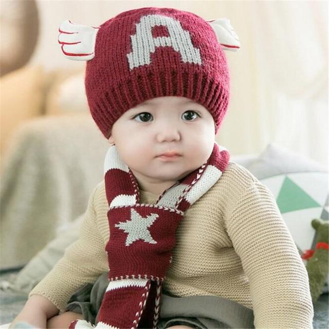 Cap   Cachecol bebê Outono Inverno Gorros De Lã Ouvidos Aquecimento Chapéus  asas criança Bebe 5e266758b97