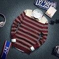 El nuevo 2016 cultiva su moralidad de los hombres jerseys con cuello en v suéter de la raya del color del encanto