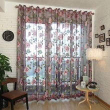 Elegant Floral Curtain Tulle Voile Window Curtain Panel Sheer Drape Scarf Valances For Living Room Elegant Style