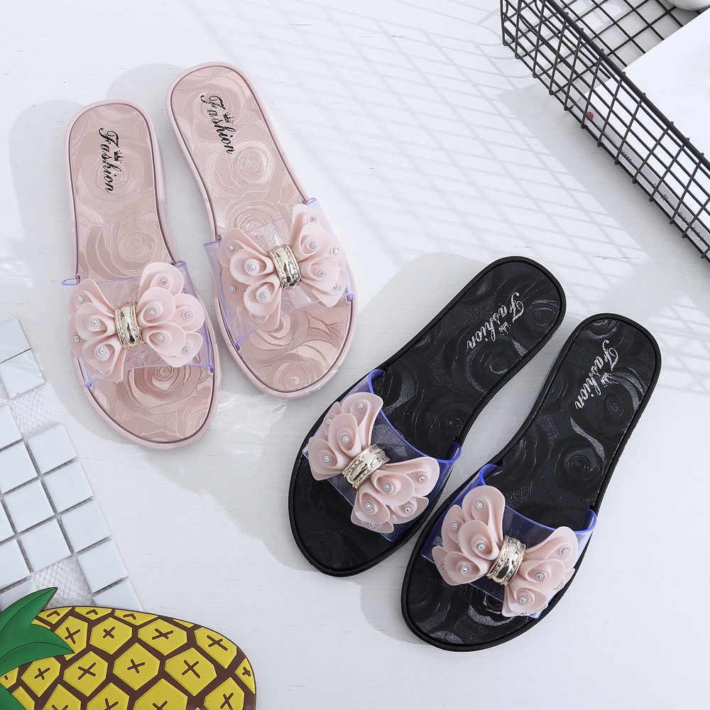 f757204927c33 Fashion Women Slippers Summer Shoes Beach Large Flower Slip Slippers sandals  Girls Flip Flops zapatos de