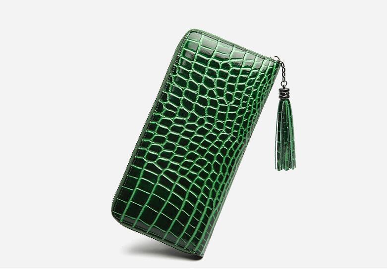 Crocodilo padrão de pele de vaca couro genuíno titular do cartão de mulheres carteira de longo bolsa zip sólida