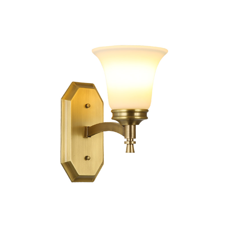 Wall Sconce copper wall lamp 3w led lamp glass lampshade light living room restaurant cafe bedroom hotel hall decoration light