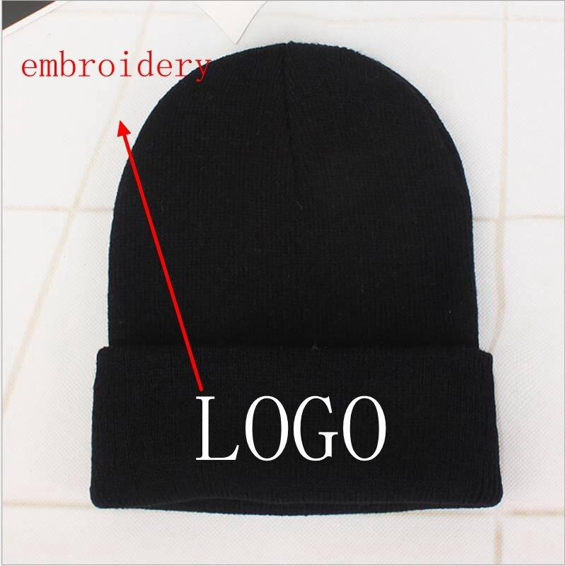 Шапка-бини с логотипом на заказ, женская вязаная шапка с вышивкой, однотонная осенне-зимняя вязаная шапка-бини, Женская мешковатая шапка, хи...