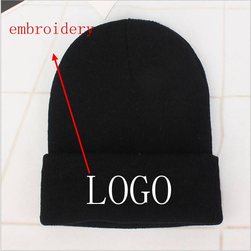 WZCX 2019 Fashion New Custom Logo Embroidery Knitted Hat Solid Color Autumn Winter Unisex Adult Cap Hip Hop Cap