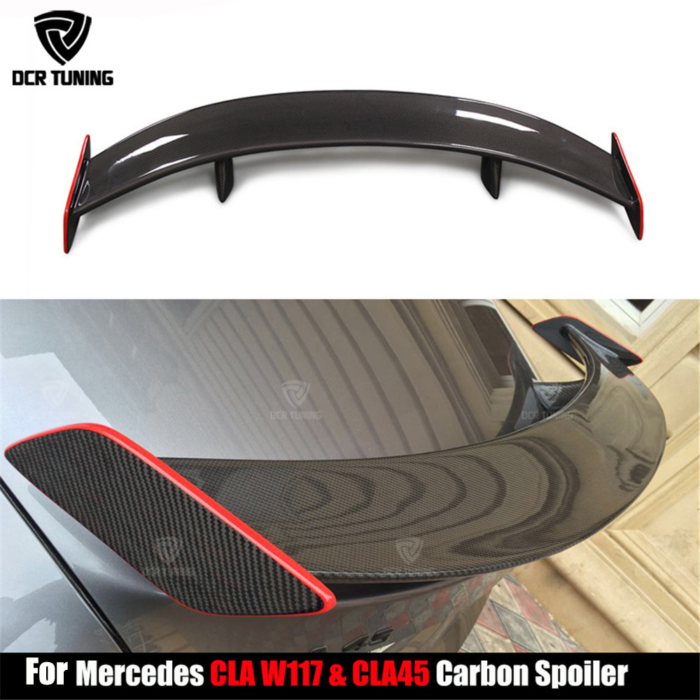 For Mercedes CLA CLASS W117 C117 CLA45 Carbon Fiber GT Rear Trunk Spoiler With Red line CLA 200 250 260 CLA45 car styling 2013+ for mercedes cla w117 carbon spoiler fd style carbon fiber rear wing spoiler with red line cla class w117 amg spoiler 2013 up