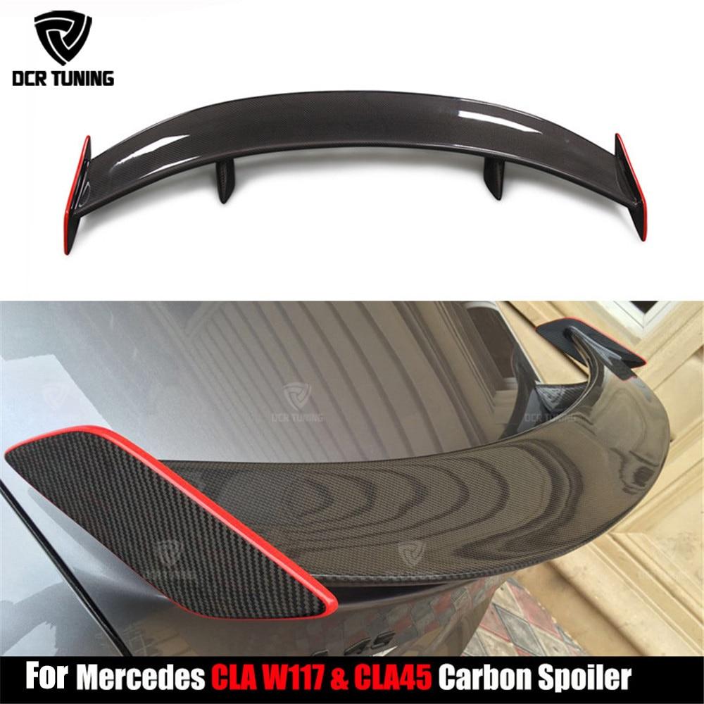 Pour Mercedes CLA classe W117 C117 CLA45 fibre de carbone GT aileron de coffre arrière avec ligne rouge CLA 200 250 260 CLA45 style de voiture 2013 +